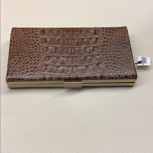 Banana Republic   Brown Leather Reptile Clutch